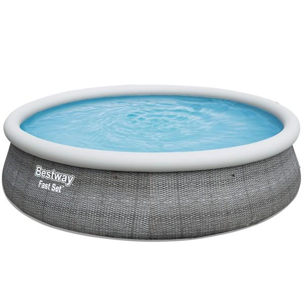 Bestway® Ersatzpool Fast Set™ Pool 457x107 cm, aufblasbar ohne Zubehör, rund, grau Rattanoptik