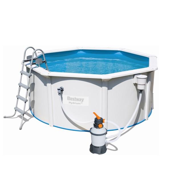 Hydrium™ Stahlwandpool-Set mit Sandfilteranlage, Sicherheitsleiter & Bodenplane 300 x 120 cm