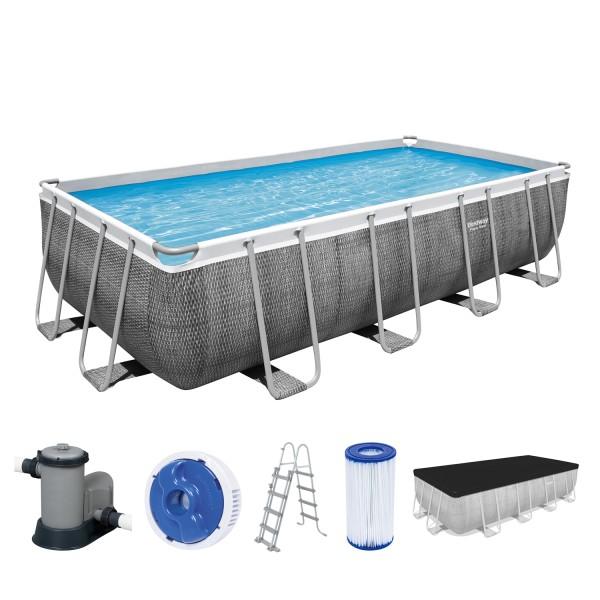 Power Steel™ Frame Pool, 549 x 274 x 122 cm, Komplett-Set mit Filterpumpe, eckig, graue Rattan-Optik