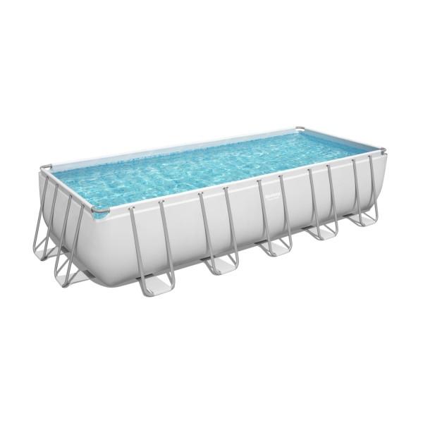 Bestway® Ersatzpool Power Steel™ Frame Pool, 640 x 274 x 132 cm, ohne Zubehör, eckig, grau