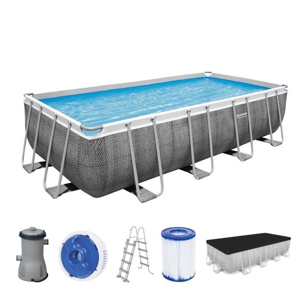 Power Steel™ Frame Pool, 488 x 244 x 122 cm, Komplett-Set mit Filterpumpe, eckig, graue Rattan-Optik
