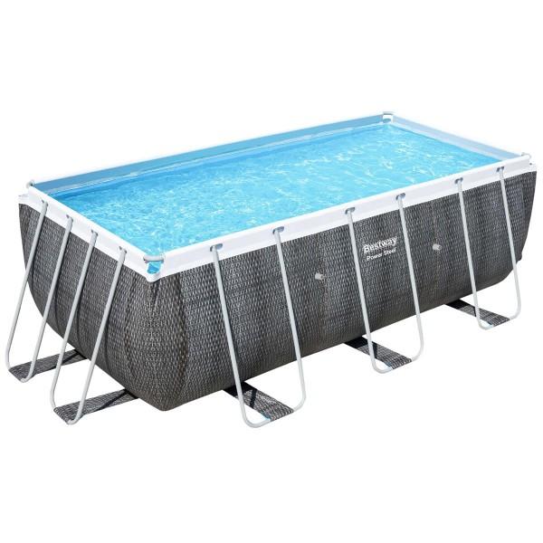Bestway® Ersatzpool Power Steel™ Frame Pool, 412 x 201 x 122 cm, ohne Zubehör, eckig, grau