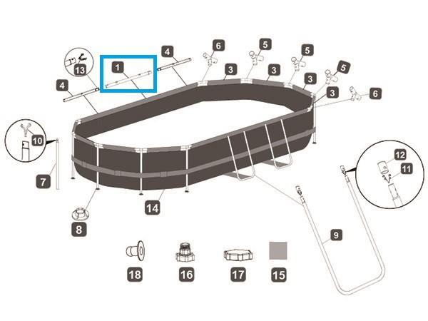 Bestway® Ersatzteil P04112 Horizontale Poolstange A für Power Steel™ Deluxe Series Pool 488x305x107c