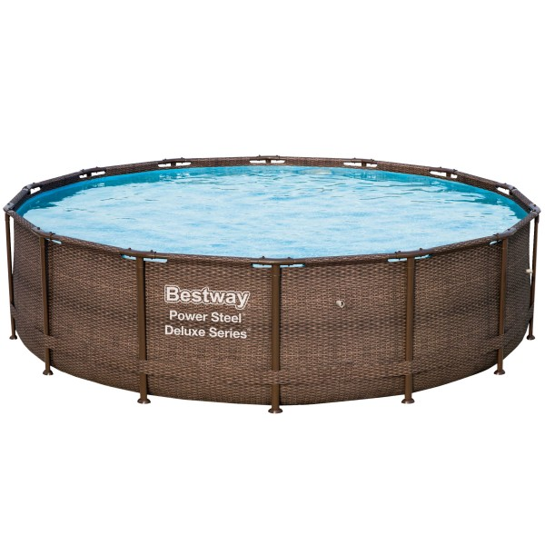 Bestway® Ersatzpool Power Steel™ Framepool, 427x107 cm, ohne Zubehör, rund, Rattanoptik