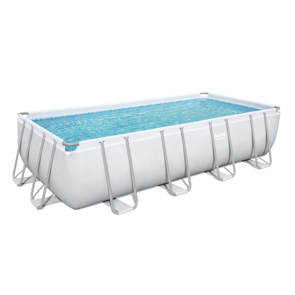 Power Steel™ Frame Pool, 549 x 274 x 122 cm, Komplett-Set mit Sandfilteranlage, eckig, grau