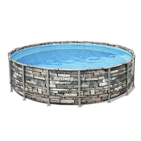 Power Steel™ Frame Pool, 488 x 122 cm, Komplett-Set mit Filterpumpe, rund, Stein-Optik