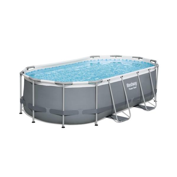 Bestway® Ersatzpool Power Steel™ Frame Pool, 427 x 250 x 100 cm, ohne Zubehör, oval, grau