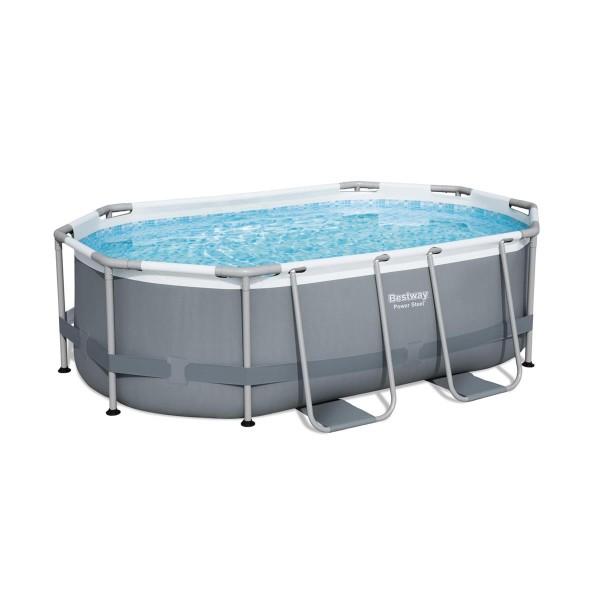 Bestway® Ersatzpool Power Steel™ Frame Pool, 305 x 200 x 84 cm, ohne Zubehör, oval, grau